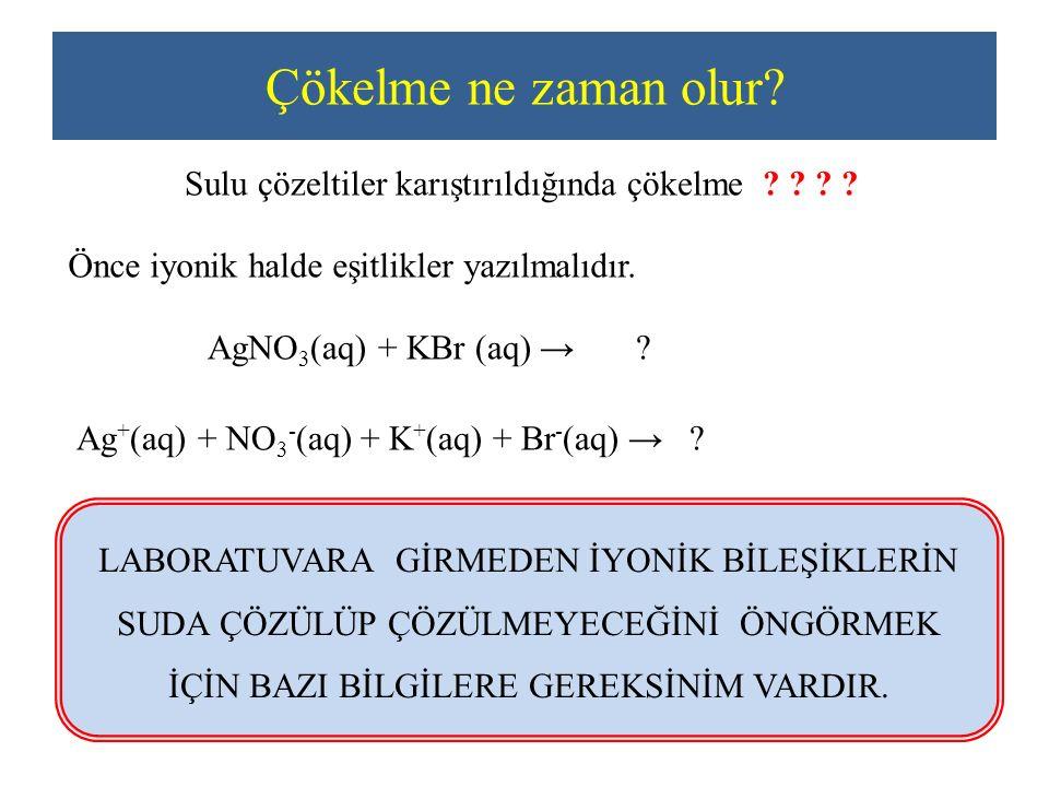 Çökelme ne zaman olur? Sulu çözeltiler karıştırıldığında çökelme ? ? ? ? Önce iyonik halde eşitlikler yazılmalıdır. AgNO 3 (aq) + KBr (aq) → ? Ag + (a