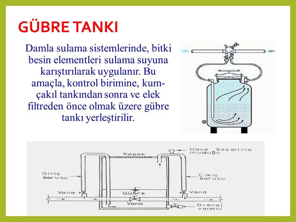 GÜBRE TANKI Damla sulama sistemlerinde, bitki besin elementleri sulama suyuna karıştırılarak uygulanır. Bu amaçla, kontrol birimine, kum- çakıl tankın