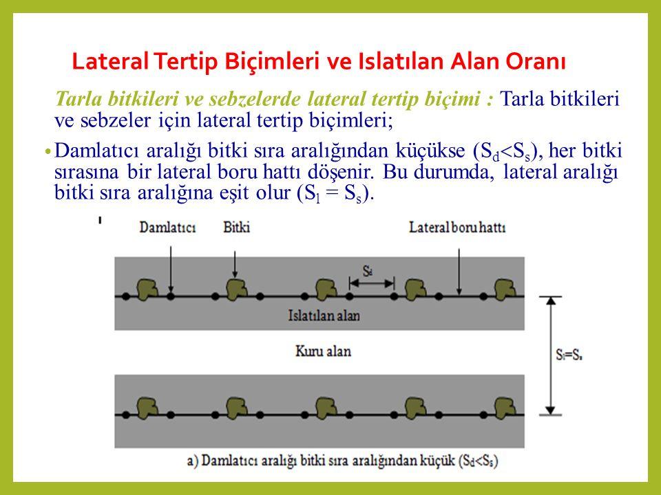 Lateral Tertip Biçimleri ve Islatılan Alan Oranı Tarla bitkileri ve sebzelerde lateral tertip biçimi : Tarla bitkileri ve sebzeler için lateral tertip