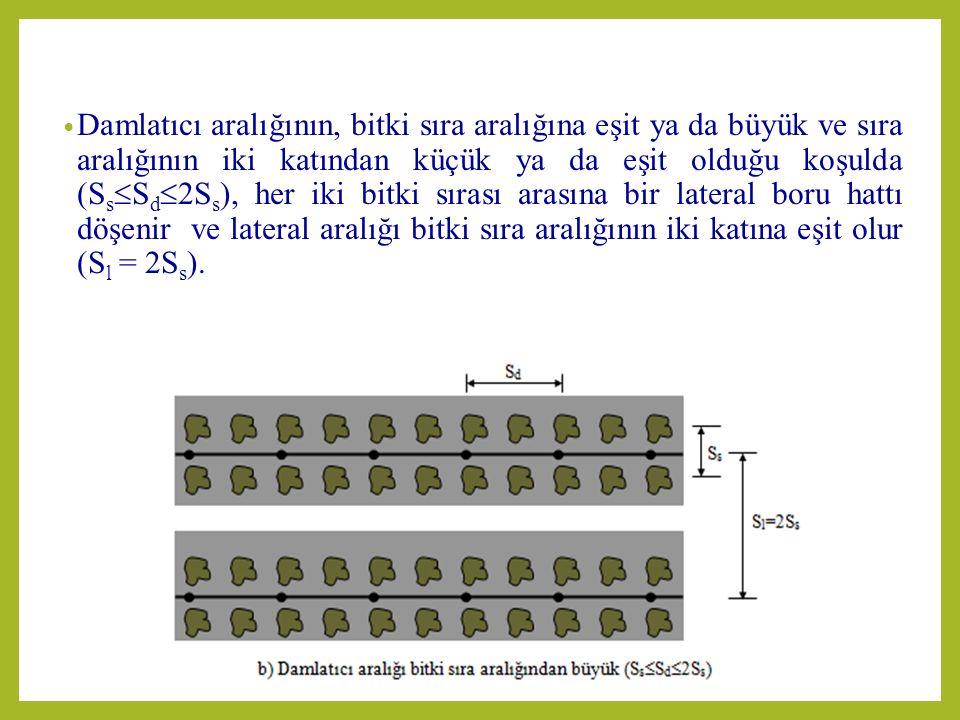 Damlatıcı aralığının, bitki sıra aralığına eşit ya da büyük ve sıra aralığının iki katından küçük ya da eşit olduğu koşulda (S s  S d  2S s ), her iki bitki sırası arasına bir lateral boru hattı döşenir ve lateral aralığı bitki sıra aralığının iki katına eşit olur (S l = 2S s ).