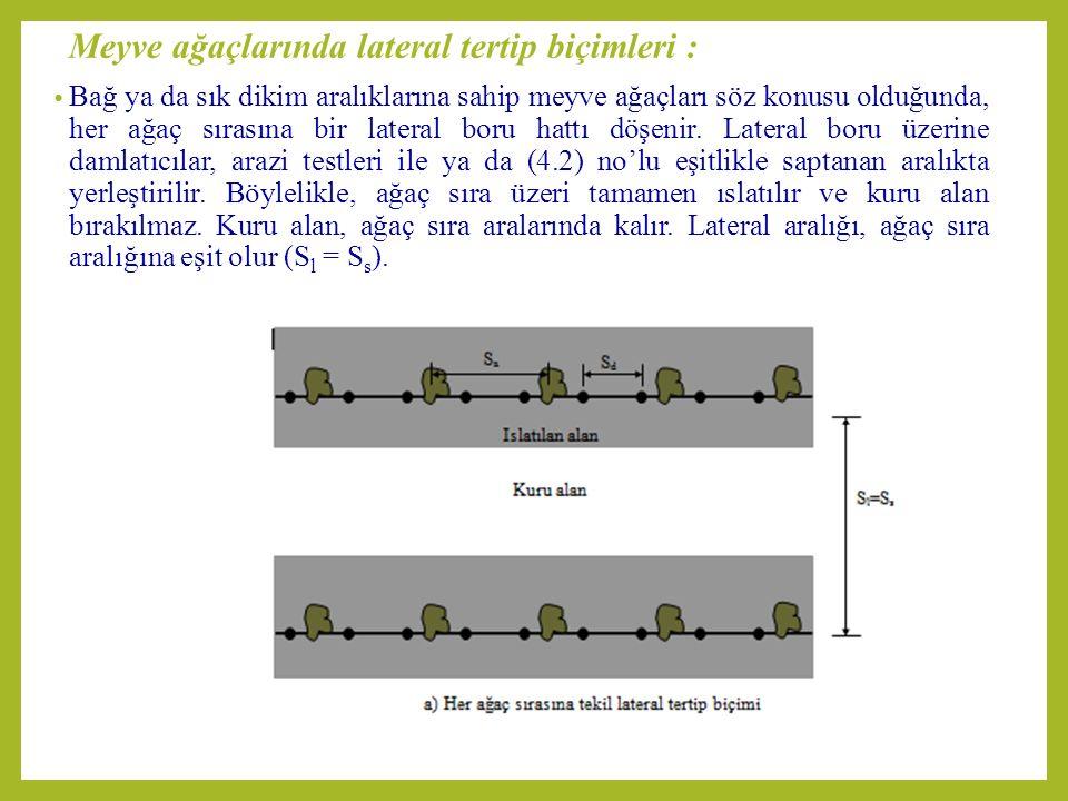 Meyve ağaçlarında lateral tertip biçimleri : Bağ ya da sık dikim aralıklarına sahip meyve ağaçları söz konusu olduğunda, her ağaç sırasına bir lateral boru hattı döşenir.