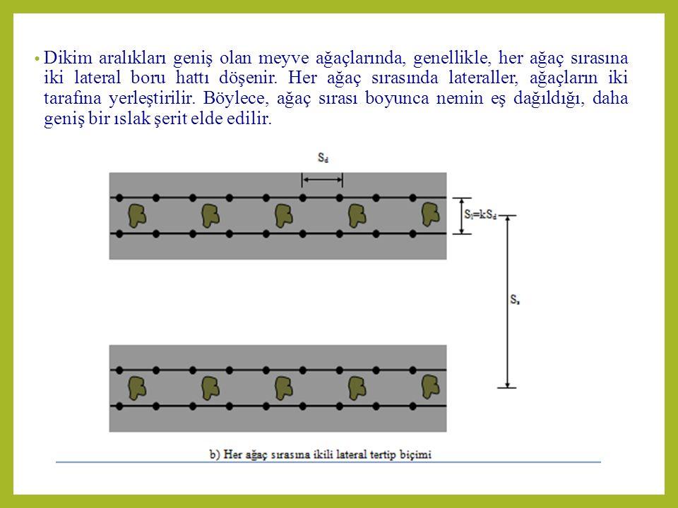 Dikim aralıkları geniş olan meyve ağaçlarında, genellikle, her ağaç sırasına iki lateral boru hattı döşenir.