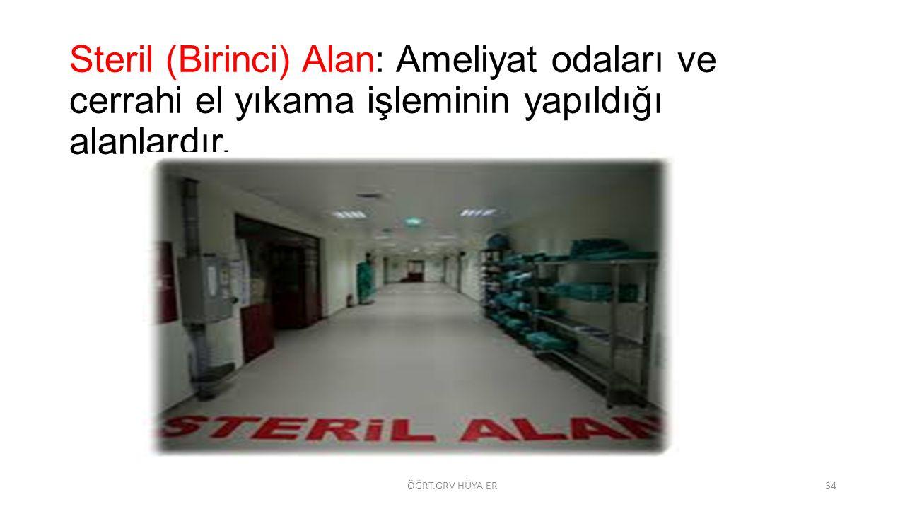 Steril (Birinci) Alan: Ameliyat odaları ve cerrahi el yıkama işleminin yapıldığı alanlardır. ÖĞRT.GRV HÜYA ER34