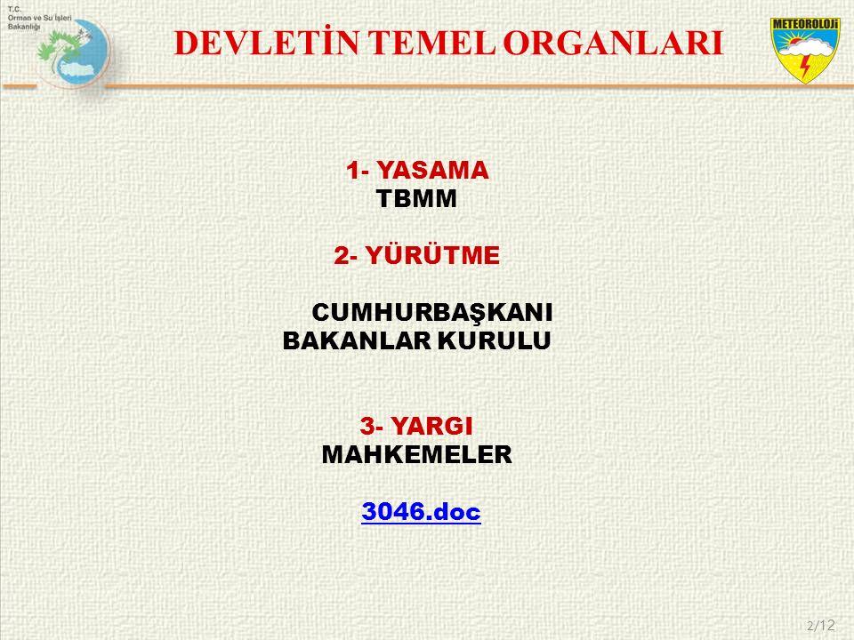2/ 12 DEVLETİN TEMEL ORGANLARI 1- YASAMA TBMM 2- YÜRÜTME CUMHURBAŞKANI BAKANLAR KURULU 3- YARGI MAHKEMELER 3046.doc