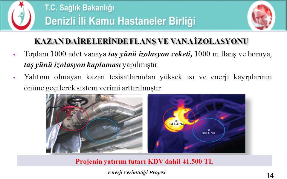 Enerji Verimliliği Projesi KAZAN DAİRELERİNDE FLANŞ VE VANA İZOLASYONU  Toplam 1000 adet vanaya taş yünü izolasyon ceketi, 1000 m flanş ve boruya, ta