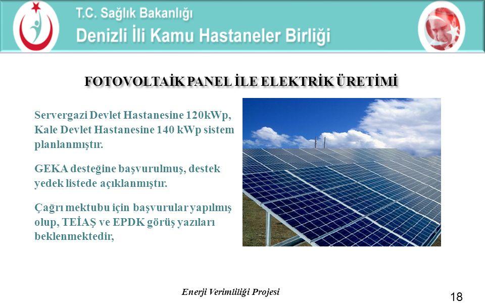 Enerji Verimliliği Projesi Servergazi Devlet Hastanesine 120kWp, Kale Devlet Hastanesine 140 kWp sistem planlanmıştır. GEKA desteğine başvurulmuş, des
