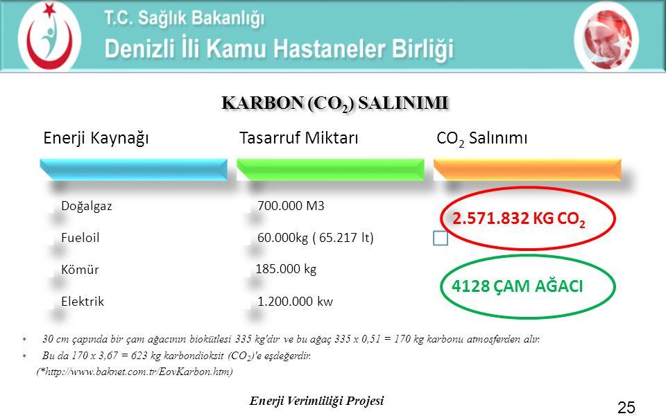 Enerji Verimliliği Projesi KARBON (CO 2 ) SALINIMI 25 30 cm çapında bir çam ağacının biokütlesi 335 kg'dır ve bu ağaç 335 x 0,51 = 170 kg karbonu atmo
