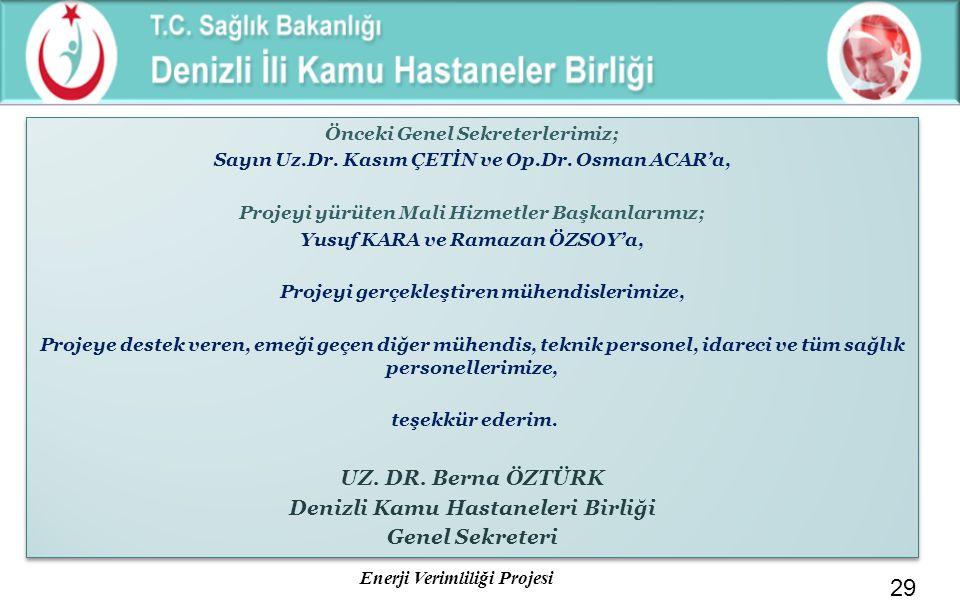 Enerji Verimliliği Projesi 29 Önceki Genel Sekreterlerimiz; Sayın Uz.Dr. Kasım ÇETİN ve Op.Dr. Osman ACAR'a, Projeyi yürüten Mali Hizmetler Başkanları