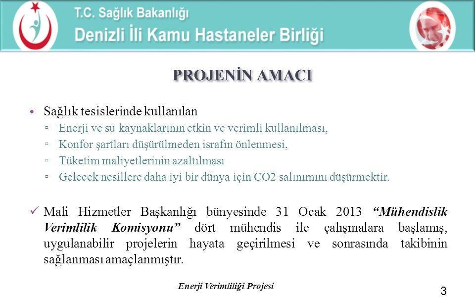 Enerji Verimliliği Projesi PROJENİN AMACI Sağlık tesislerinde kullanılan ▫ Enerji ve su kaynaklarının etkin ve verimli kullanılması, ▫ Konfor şartları