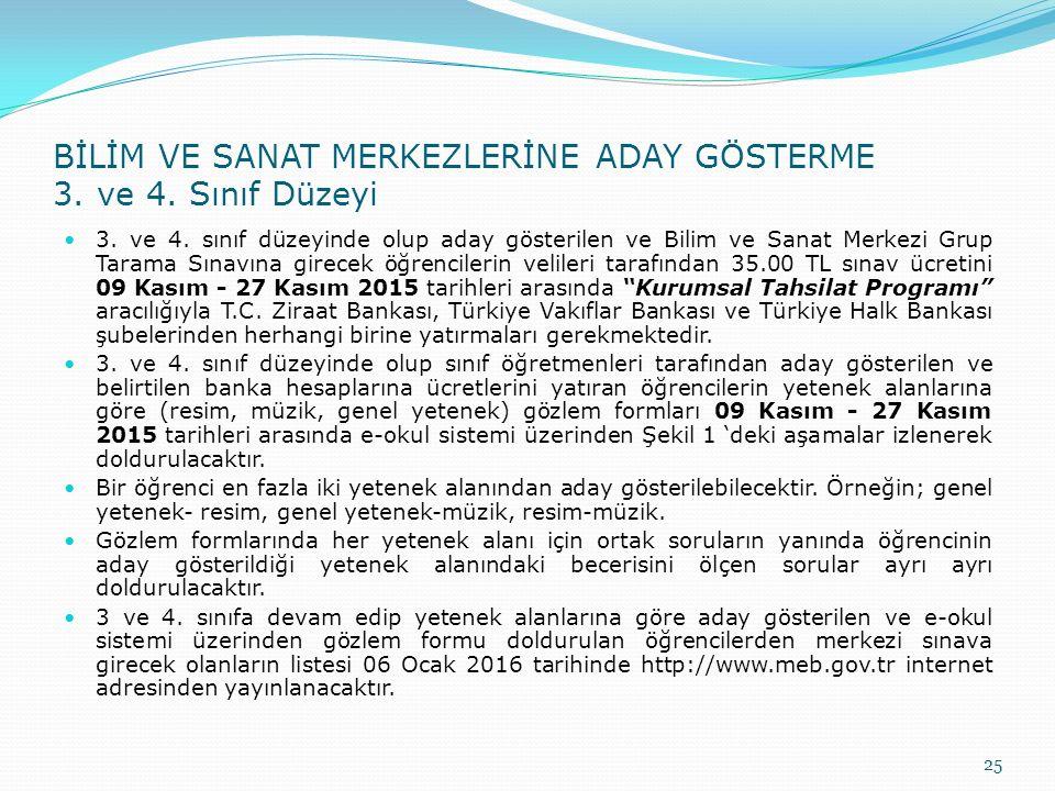 BİLİM VE SANAT MERKEZLERİNE ADAY GÖSTERME 3. ve 4.
