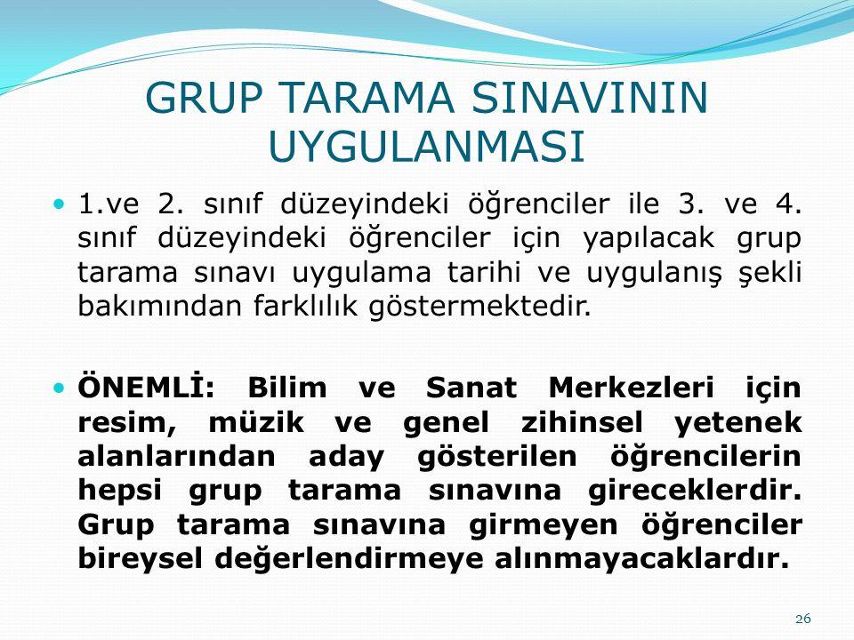 GRUP TARAMA SINAVININ UYGULANMASI 1.ve 2. sınıf düzeyindeki öğrenciler ile 3. ve 4. sınıf düzeyindeki öğrenciler için yapılacak grup tarama sınavı uyg