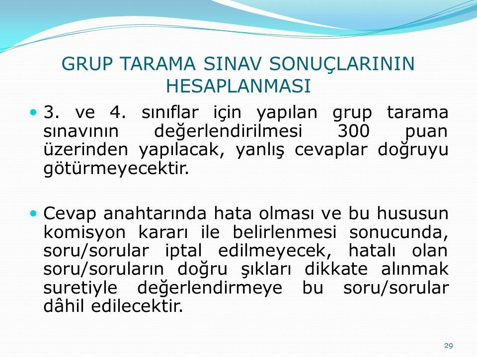 GRUP TARAMA SINAV SONUÇLARININ HESAPLANMASI 3. ve 4. sınıflar için yapılan grup tarama sınavının değerlendirilmesi 300 puan üzerinden yapılacak, yanlı