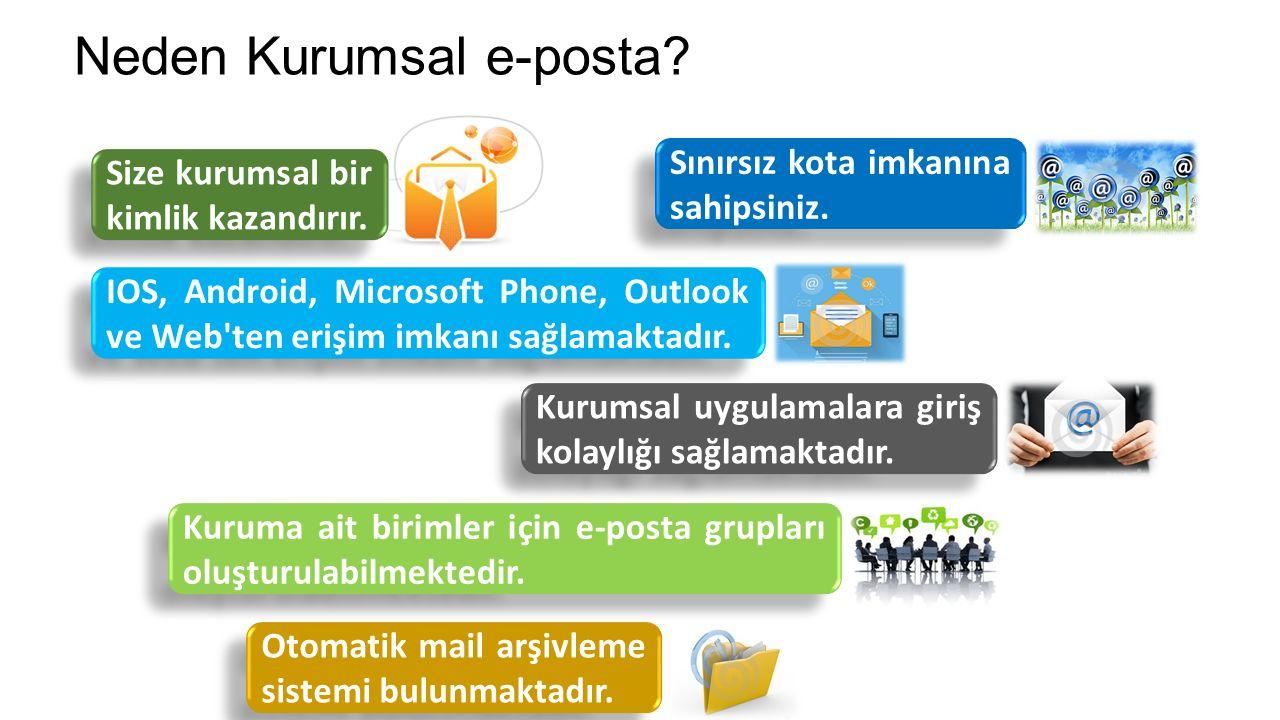 Neden Kurumsal e-posta. Size kurumsal bir kimlik kazandırır.