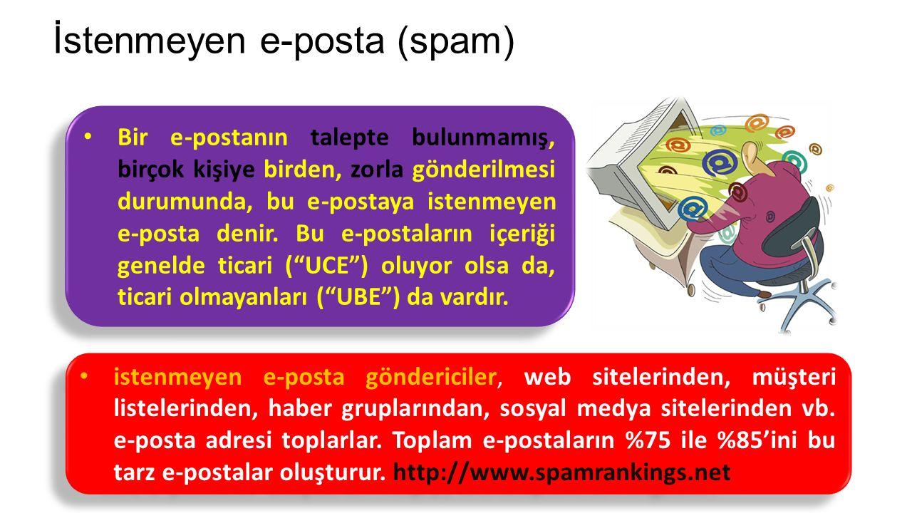 İstenmeyen e-posta (spam) Bir e-postanın talepte bulunmamış, birçok kişiye birden, zorla gönderilmesi durumunda, bu e-postaya istenmeyen e-posta denir.