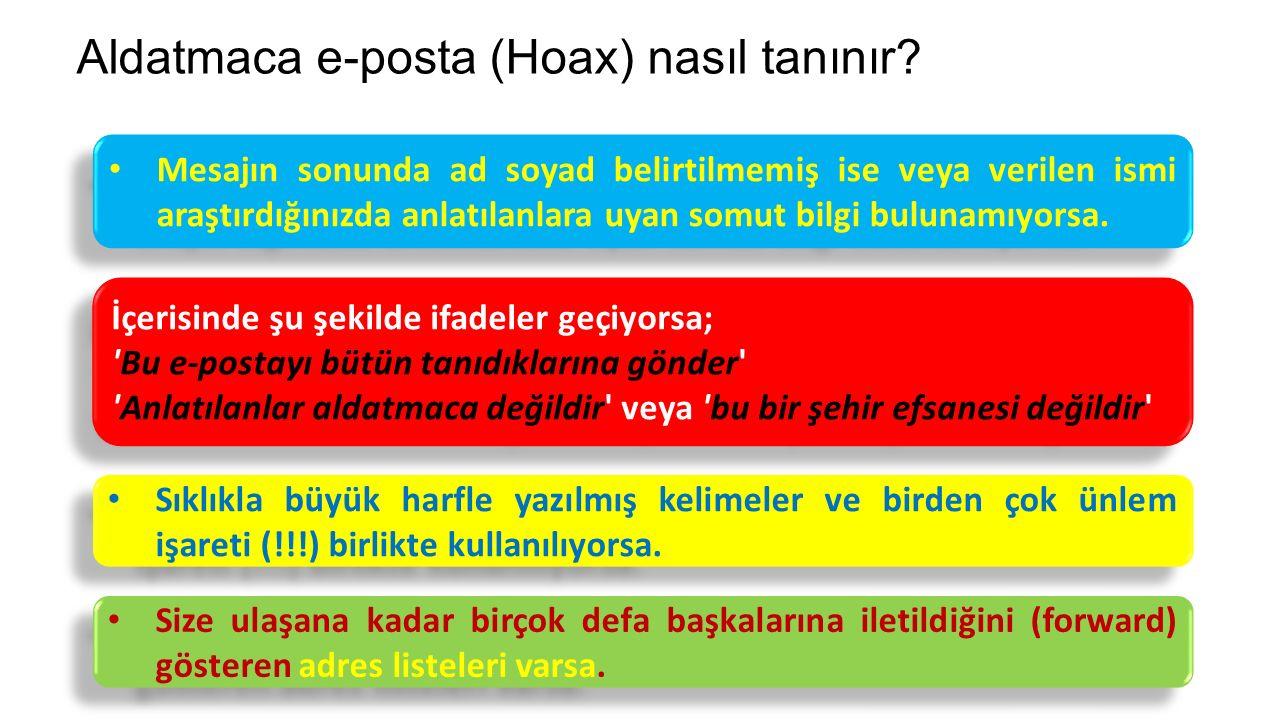 Aldatmaca e-posta (Hoax) nasıl tanınır.
