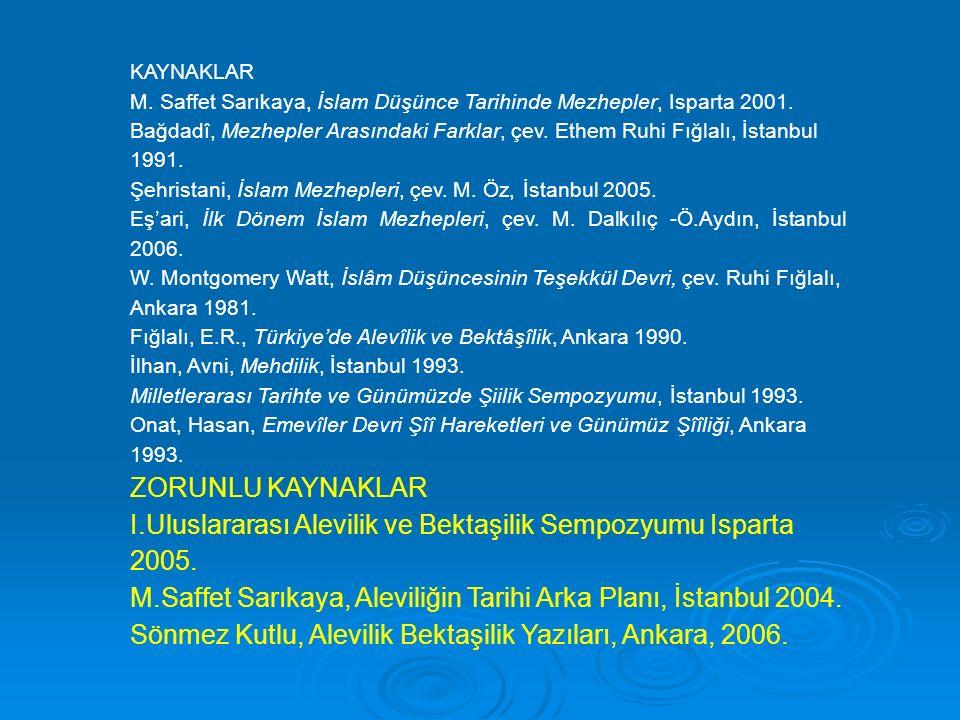 KAYNAKLAR M.Saffet Sarıkaya, İslam Düşünce Tarihinde Mezhepler, Isparta 2001.