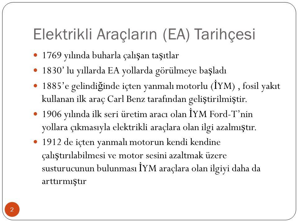 Elektrikli Araçların (EA) Tarihçesi 1769 yılında buharla çalı ş an ta ş ıtlar 1830' lu yıllarda EA yollarda görülmeye ba ş ladı 1885'e gelindi ğ inde