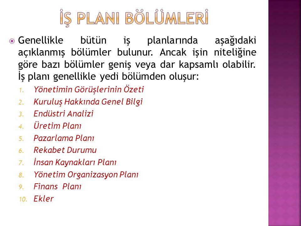  Genellikle bütün iş planlarında aşağıdaki açıklanmış bölümler bulunur.