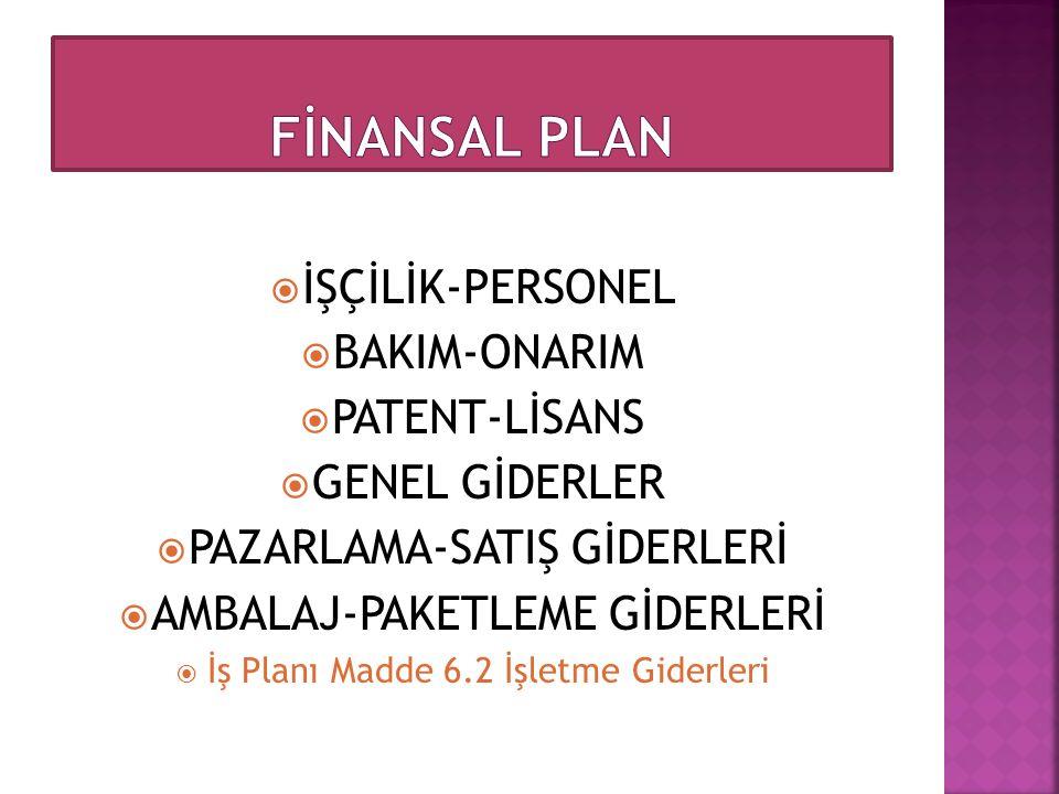  İŞÇİLİK-PERSONEL  BAKIM-ONARIM  PATENT-LİSANS  GENEL GİDERLER  PAZARLAMA-SATIŞ GİDERLERİ  AMBALAJ-PAKETLEME GİDERLERİ  İş Planı Madde 6.2 İşle