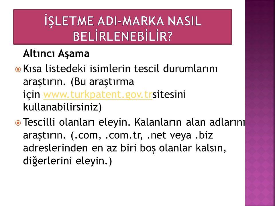Altıncı Aşama  Kısa listedeki isimlerin tescil durumlarını araştırın. (Bu araştırma için www.turkpatent.gov.trsitesini kullanabilirsiniz)www.turkpate