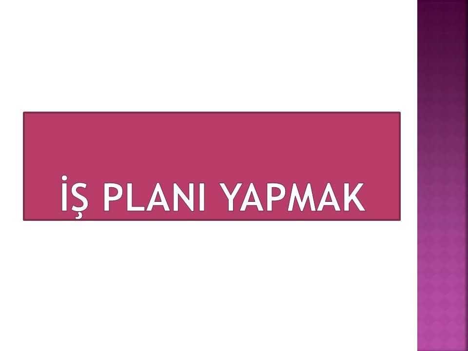  İş Planı: Yeni bir girişim için gerekli olan işle ilgili iç ve dış faktörler ile stratejilerin belirlenerek yazılı hale getirilmesidir  İş Planı; işe başlarken girişimcinin içsel ve dışsal faktörleri dikkate alarak gelecek piyasada yapmayı düşündüklerini nasıl yapacağını gösteren yazılı bir dokümandır.