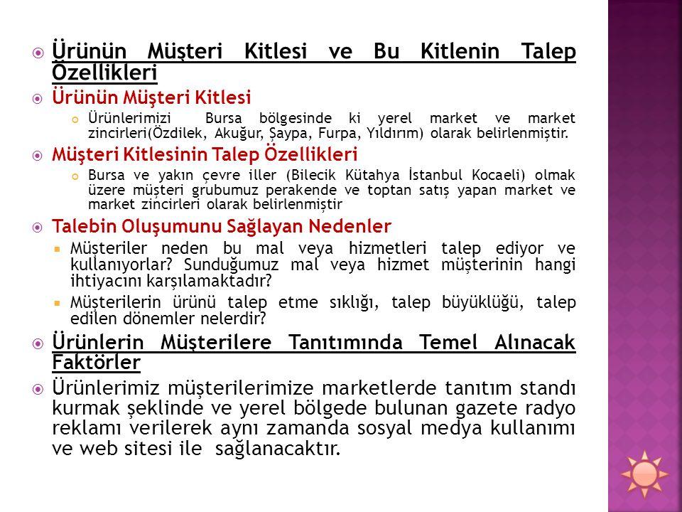  Ürünün Müşteri Kitlesi ve Bu Kitlenin Talep Özellikleri  Ürünün Müşteri Kitlesi Ürünlerimizi Bursa bölgesinde ki yerel market ve market zincirleri(Özdilek, Akuğur, Şaypa, Furpa, Yıldırım) olarak belirlenmiştir.