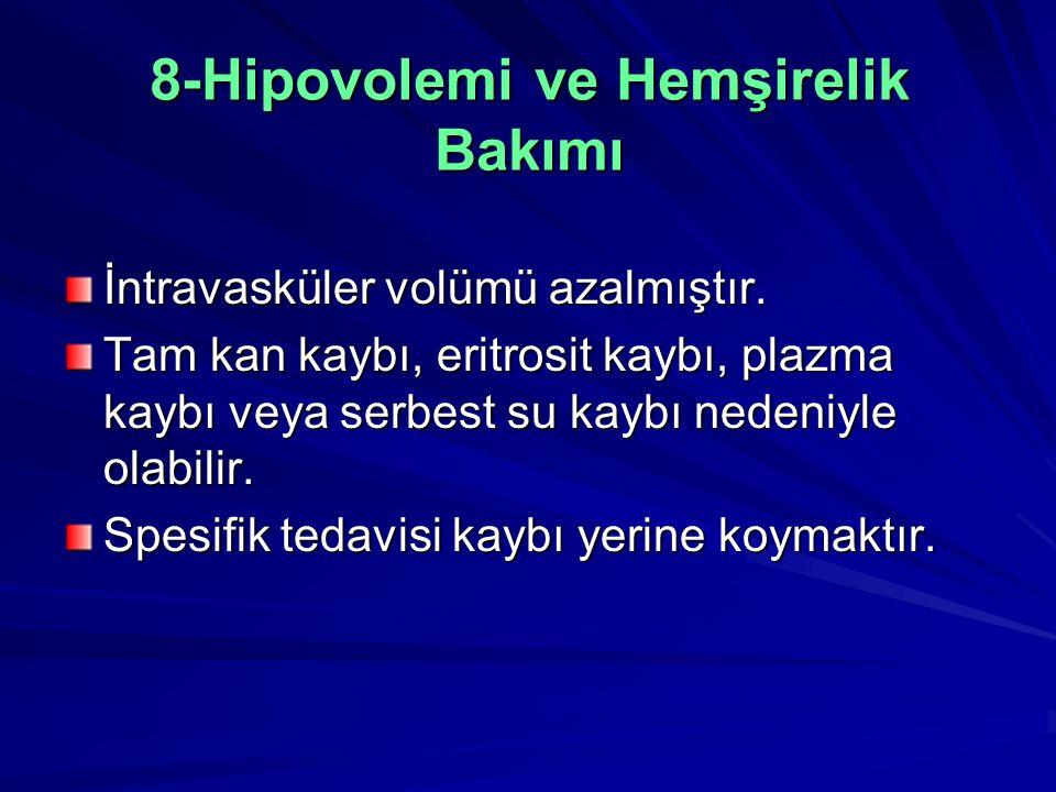 8-Hipovolemi ve Hemşirelik Bakımı İntravasküler volümü azalmıştır.