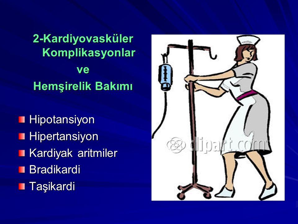 2-Kardiyovasküler Komplikasyonlar ve Hemşirelik Bakımı HipotansiyonHipertansiyon Kardiyak aritmiler BradikardiTaşikardi