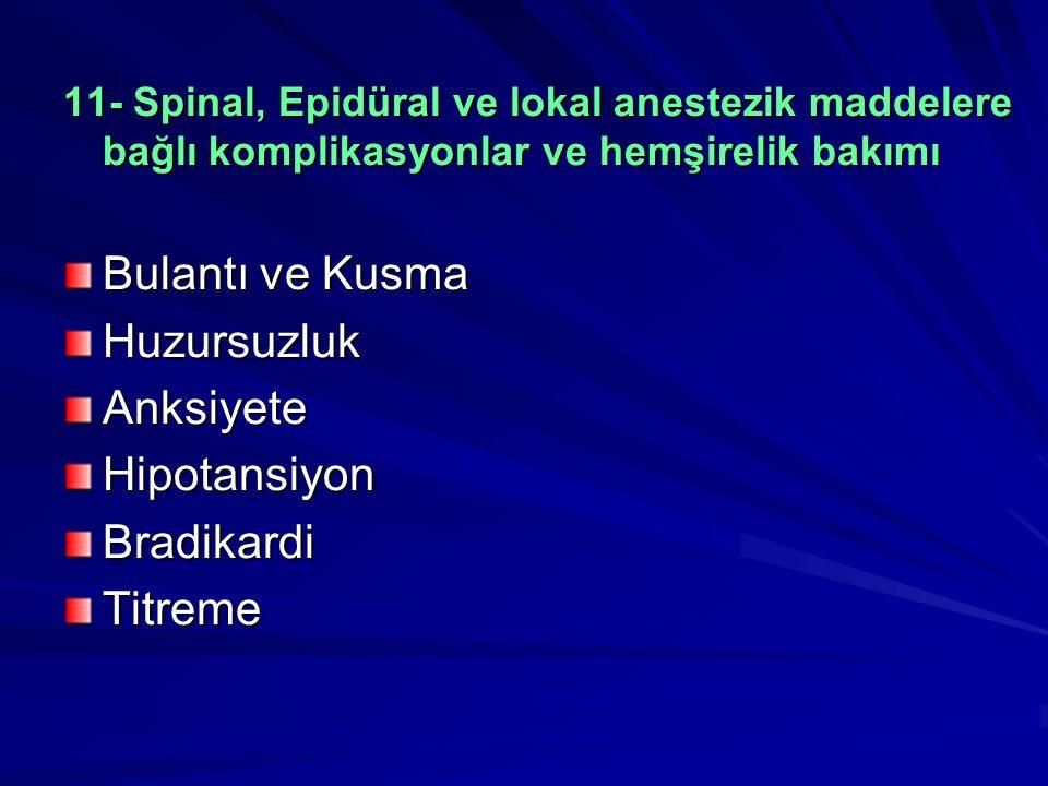 11- Spinal, Epidüral ve lokal anestezik maddelere bağlı komplikasyonlar ve hemşirelik bakımı Bulantı ve Kusma HuzursuzlukAnksiyeteHipotansiyonBradikardiTitreme