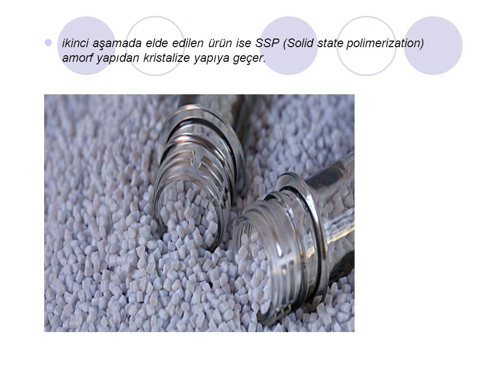 ikinci aşamada elde edilen ürün ise SSP (Solid state polimerization) amorf yapıdan kristalize yapıya geçer.