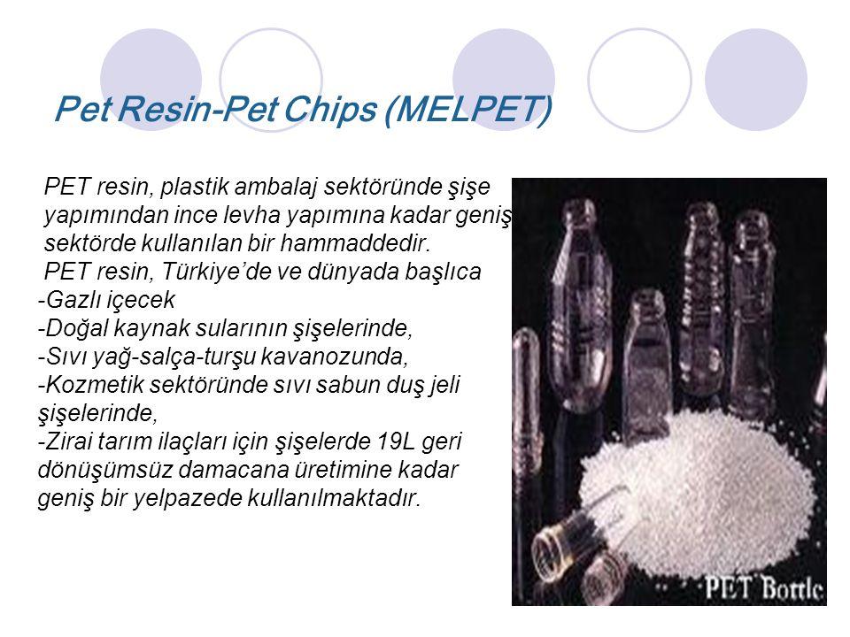 Pet Resin-Pet Chips (MELPET) PET resin, plastik ambalaj sektöründe şişe yapımından ince levha yapımına kadar geniş sektörde kullanılan bir hammaddedir.