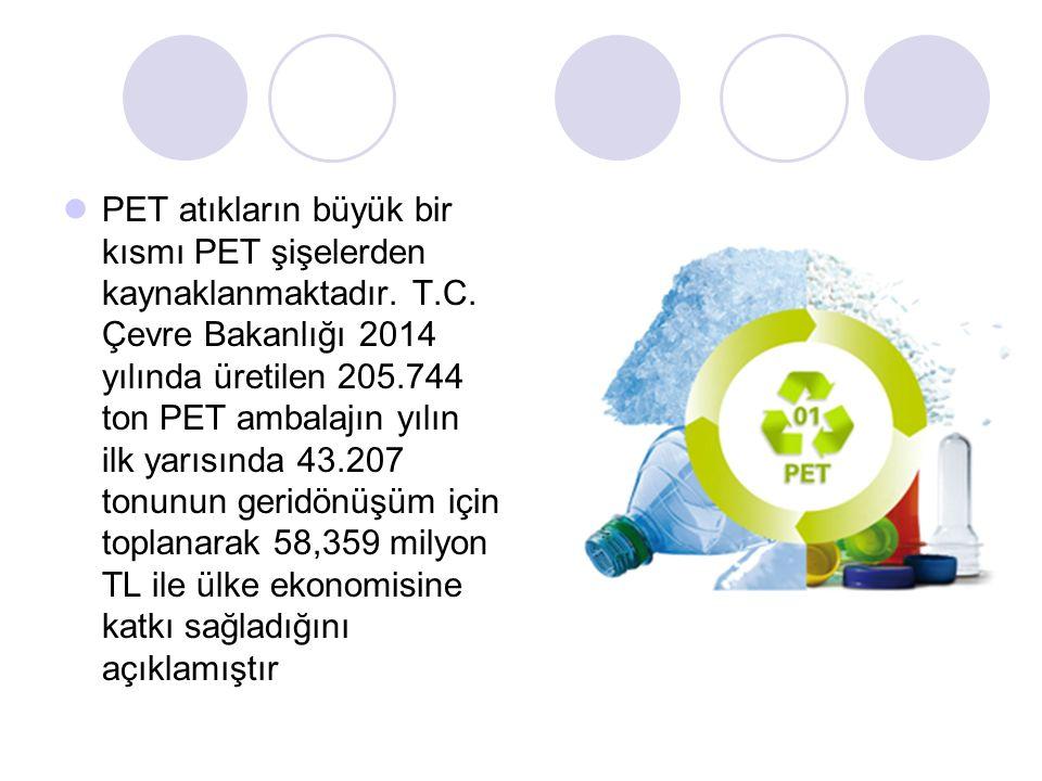 PET atıkların büyük bir kısmı PET şişelerden kaynaklanmaktadır.