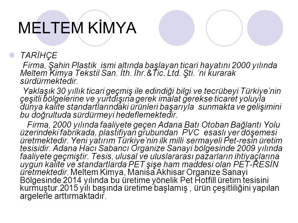 MELTEM KİMYA TARİHÇE Firma, Şahin Plastik ismi altında başlayan ticari hayatını 2000 yılında Meltem Kimya Tekstil San.