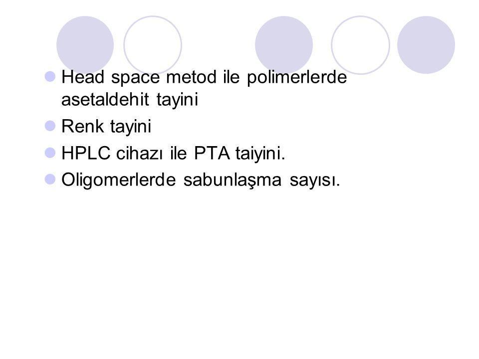 Head space metod ile polimerlerde asetaldehit tayini Renk tayini HPLC cihazı ile PTA taiyini.