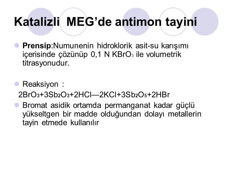 Katalizli MEG'de antimon tayini Prensip:Numunenin hidroklorik asit-su karışımı içerisinde çözünüp 0,1 N KBrO 3 ile volumetrik titrasyonudur.