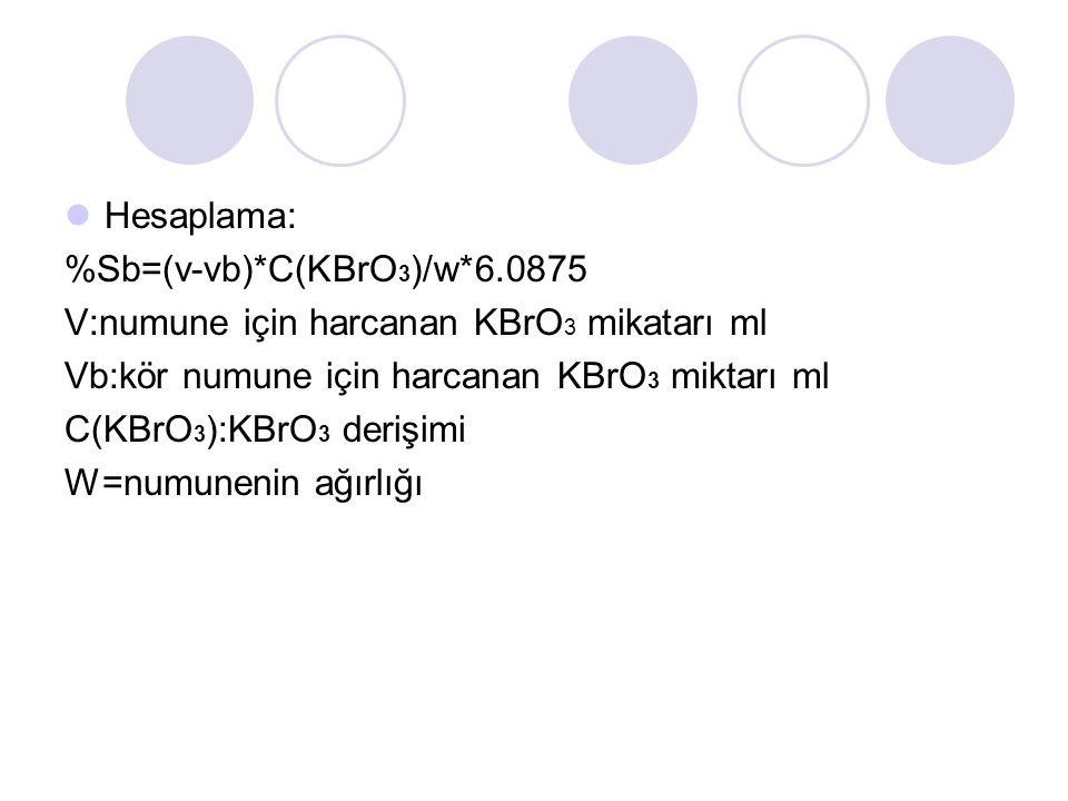 Hesaplama: %Sb=(v-vb)*C(KBrO 3 )/w*6.0875 V:numune için harcanan KBrO 3 mikatarı ml Vb:kör numune için harcanan KBrO 3 miktarı ml C(KBrO 3 ):KBrO 3 derişimi W=numunenin ağırlığı