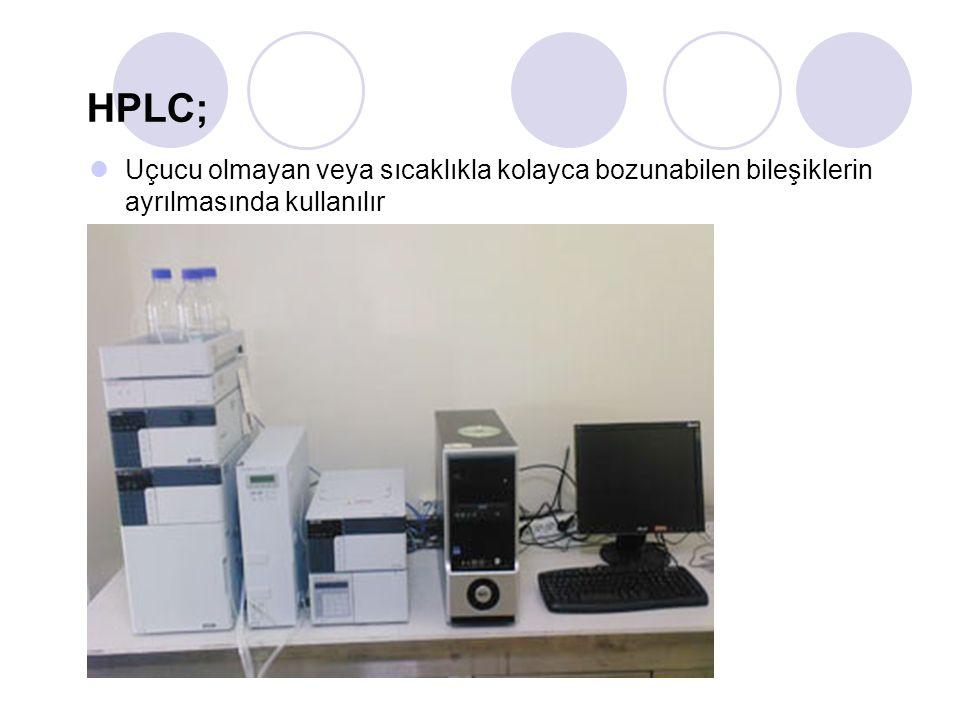 HPLC; Uçucu olmayan veya sıcaklıkla kolayca bozunabilen bileşiklerin ayrılmasında kullanılır