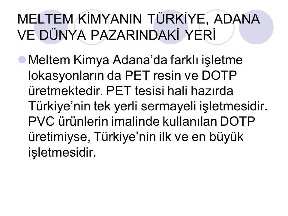 MELTEM KİMYANIN TÜRKİYE, ADANA VE DÜNYA PAZARINDAKİ YERİ Meltem Kimya Adana'da farklı işletme lokasyonların da PET resin ve DOTP üretmektedir.