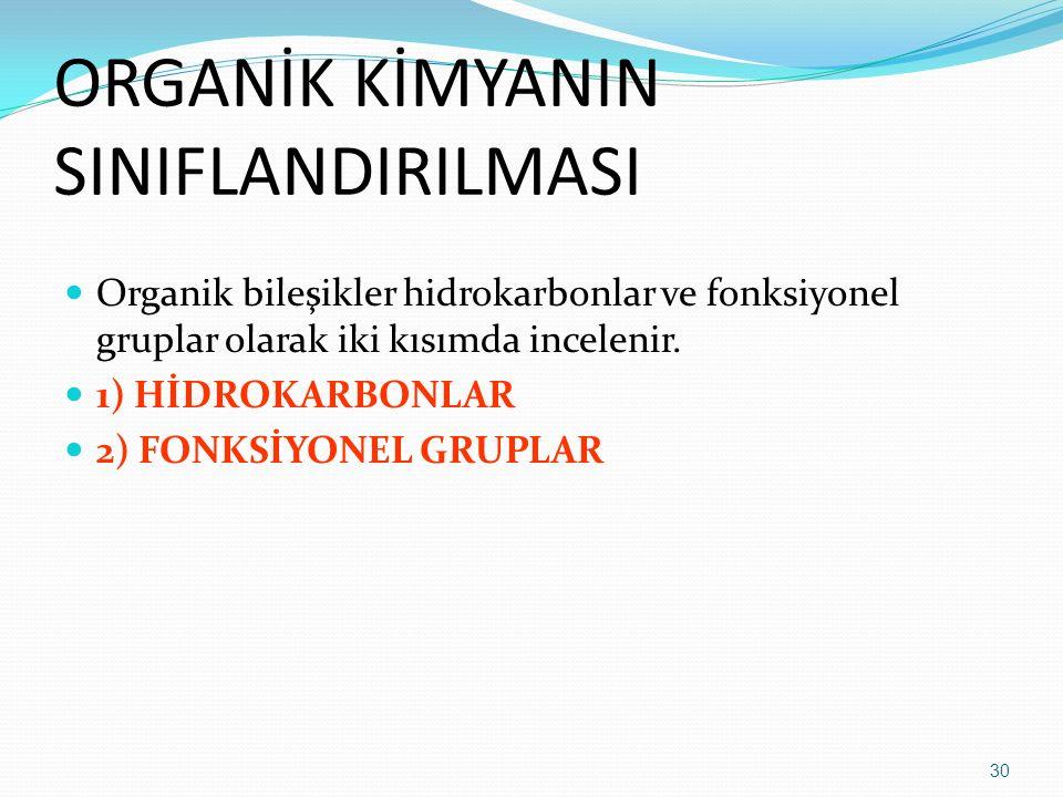 ORGANİK KİMYANIN SINIFLANDIRILMASI Organik bileşikler hidrokarbonlar ve fonksiyonel gruplar olarak iki kısımda incelenir. 1) HİDROKARBONLAR 2) FONKSİY