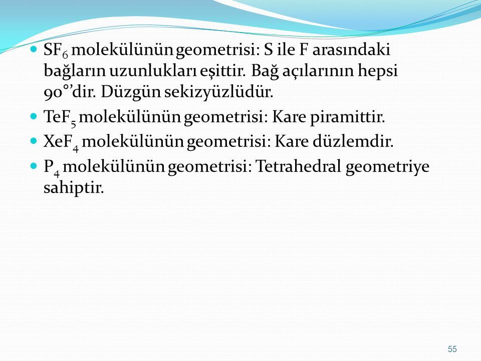 SF 6 molekülünün geometrisi: S ile F arasındaki bağların uzunlukları eşittir. Bağ açılarının hepsi 90°'dir. Düzgün sekizyüzlüdür. TeF 5 molekülünün ge