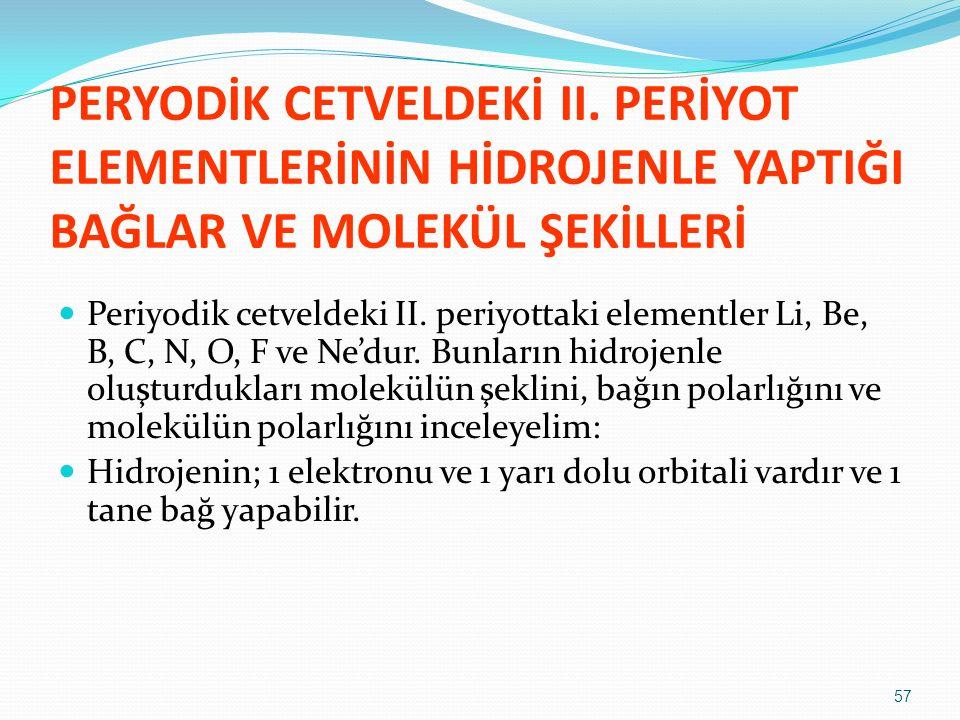PERYODİK CETVELDEKİ II. PERİYOT ELEMENTLERİNİN HİDROJENLE YAPTIĞI BAĞLAR VE MOLEKÜL ŞEKİLLERİ Periyodik cetveldeki II. periyottaki elementler Li, Be,
