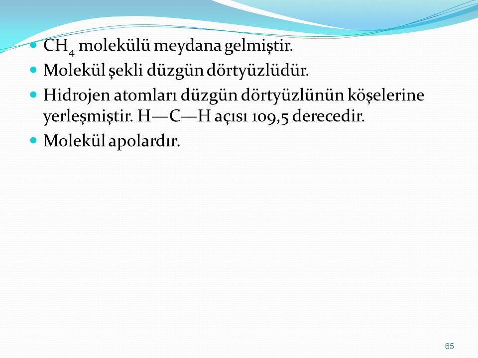 CH 4 molekülü meydana gelmiştir. Molekül şekli düzgün dörtyüzlüdür. Hidrojen atomları düzgün dörtyüzlünün köşelerine yerleşmiştir. H—C—H açısı 109,5 d