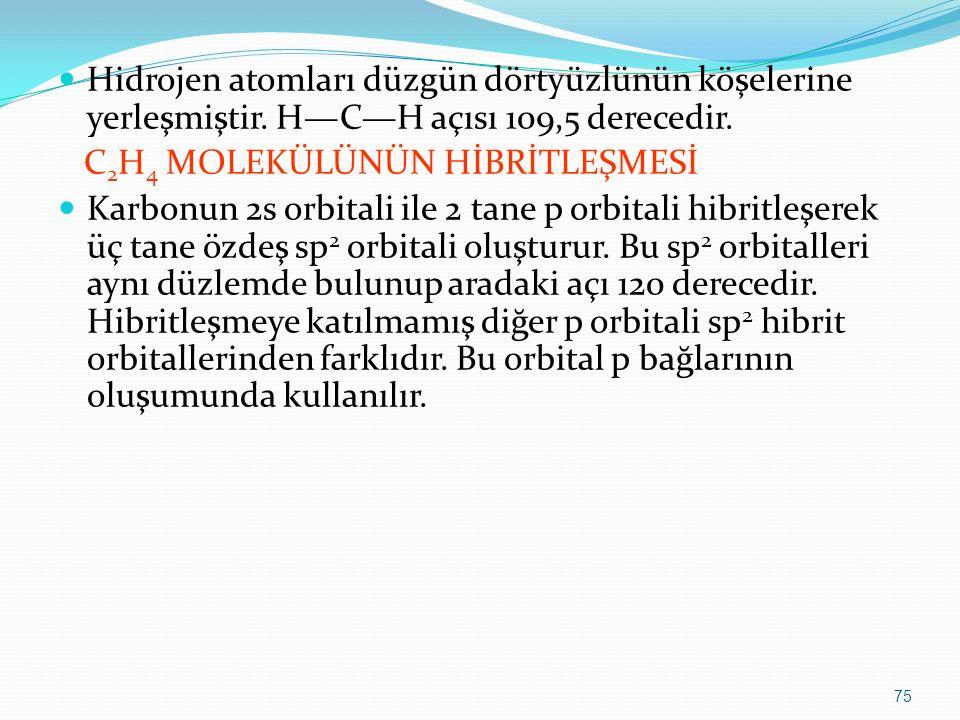 Hidrojen atomları düzgün dörtyüzlünün köşelerine yerleşmiştir. H—C—H açısı 109,5 derecedir. C 2 H 4 MOLEKÜLÜNÜN HİBRİTLEŞMESİ Karbonun 2s orbitali ile