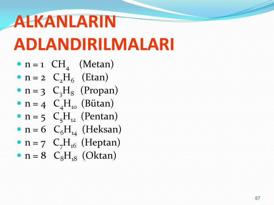 ALKANLARIN ADLANDIRILMALARI n = 1 CH 4 (Metan) n = 2 C 2 H 6 (Etan) n = 3 C 3 H 8 (Propan) n = 4 C 4 H 10 (Bütan) n = 5 C 5 H 12 (Pentan) n = 6 C 6 H