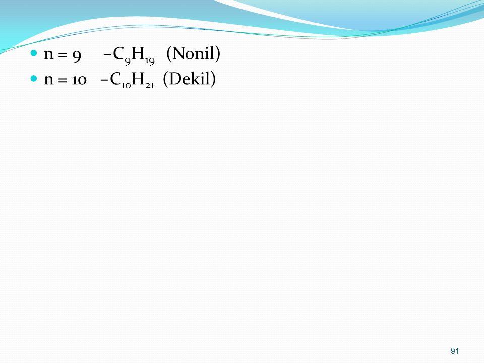 n = 9 –C 9 H 19 (Nonil) n = 10 –C 10 H 21 (Dekil) 91