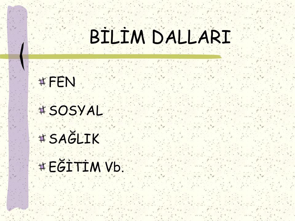 BİLİM DALLARI FEN SOSYAL SAĞLIK EĞİTİM Vb.