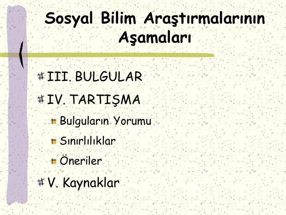 Sosyal Bilim Araştırmalarının Aşamaları III.BULGULAR IV.