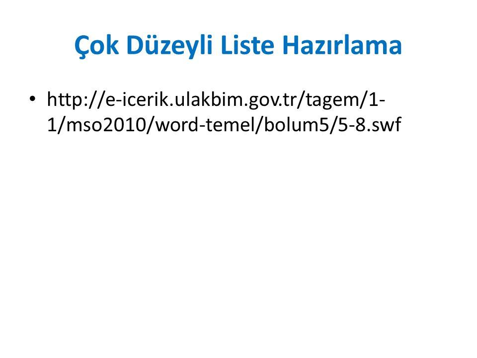 Çok Düzeyli Liste Hazırlama http://e-icerik.ulakbim.gov.tr/tagem/1- 1/mso2010/word-temel/bolum5/5-8.swf