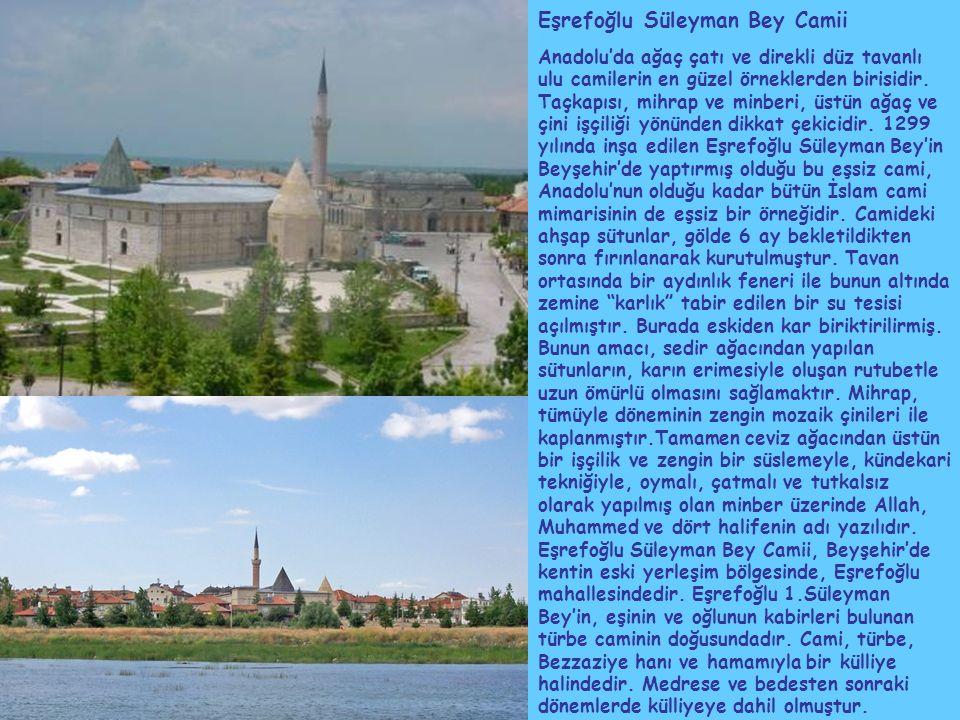 Eşrefoğlu Süleyman Bey Camii Anadolu'da ağaç çatı ve direkli düz tavanlı ulu camilerin en güzel örneklerden birisidir.