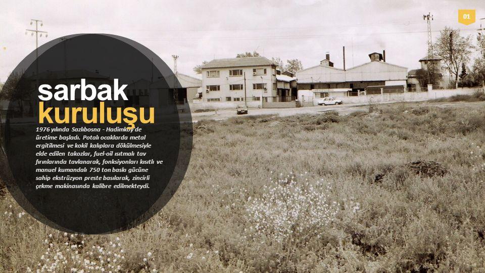 0101 sarbak 1976 yılında Sazlıbosna - Hadimköy'de üretime başladı. Potalı ocaklarda metal ergitilmesi ve kokil kalıplara dökülmesiyle elde edilen tako